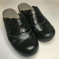 Dansko Skylar Black Leather Slip On Clogs Heels Floral Cut Outs Euro 38 US 7.5-8