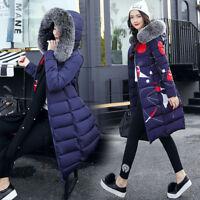 Women's Winter Down Cotton Warm Jacket Hooded Long Coat Fur Collar Parka Zsell