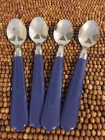"Mainstays Stainless Flatware Blue Denim Plastic Handle Flair 4 TEASPOONS 6"""