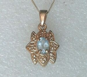 """Pretty gold plated silver 925 18"""" chain and a Aquamarine blue paste pendant"""