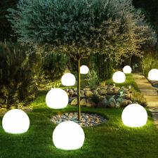 2er Set LED SOLAR Erdspieß Steck Leuchten Balkon Rasen Dekor Kugel Lampen silber