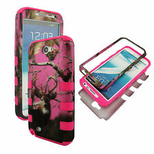 Hybrid Tuff Pink Deer Camo  for Samsung Galaxy Note II 2 N7100 Case Cover rt