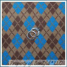 BonEful Fabric FQ Cotton Quilt Brown Blue Argyle Knit Stripe Plaid Check Diamond