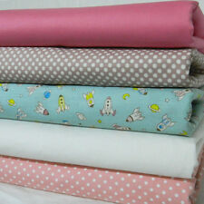 5 New Fat Quarter FQ Bundle 100% Cotton Fabric Polka Dot Pink Novelty Rocket 005