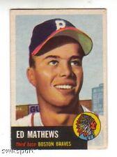 1953 Topps Baseball Card #37 Eddie Mathews Braves