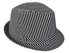 FEDORA TRILBY  Beach Party HAT Cotton Canvas Stripe Striped Nautical New 57cm