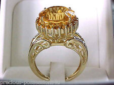 $1,489 REGAL DESIGN! 10K 6.2GR EXPLOSIVE QUANTUM CUT YELLOW CITRINE DIA RING