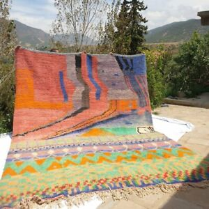 Large Authentic Moroccan Boujaad Vintage Rug Berber Carpet handmade 12x9 feet