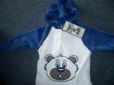 Fleece - Kapuzen-Pullover m.Öhrchen 80 Blau-Weiss m.Stickerei  sehr süss NEU
