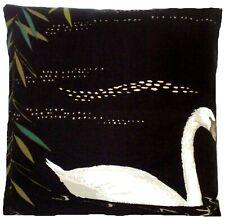 "Swan Lake Cushion Cover Nina Campbell Black Cotton Printed Fabric 16"" CLEARANCE"