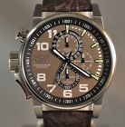 New Mens Invicta 13054 I-Force Chronograph Olive Dial Brown Leather Strap Watch