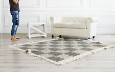 Hand Woven Wool Rug Gray Living Room Carpet Handmade SQUARE RUG 200x200 cm