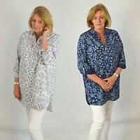 YESSICA Womens Ivory Navy Floral Linen Cotton Long Sleeve Shirt | SALE | RRP £28