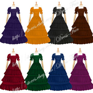 Ladies Gothic Lolita Southern Belle Fancy Lace Strappy Tiered Dress Long