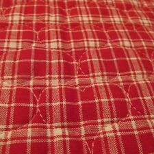 PreQuilted fabric Valentine Heart red white plaid reversable BTHy half yard