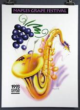 Naples Grape Festival Poster, 1993 Finger Lakes Wine, NY, Saxophone, Moscowitz