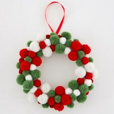 Sass & Belle Traditional Christmas Pom Pom Wreath - Fabric red green and white
