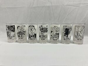 """7 Vintage """"Dirty"""" Funny Cartoon Comic Drinking Glasses 1960s Syd Hoff"""