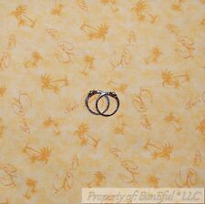 BonEful Fabric FQ Cotton Quilt VTG Yellow Elvis Presley Music Island Palm Tree S