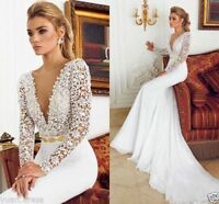 2018 Sexy Mermaid Lace Wedding Dresses V Neck Backless Bridal Gown Custom Size