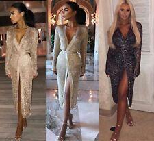 Women Sparkly Evening Dress Wedding Party Bodycon Meshing Beach Wrap Knit  Kimono c0e3eab37906