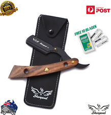 WOODEN BARBER HAIR SALON STRAIGHT WET CUT THROAT SHAVING RAZOR SHAVETTE black