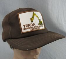 Terra Construction Vintage Hat Adjustable Snapback Ball Cap Trucker Brown