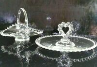 VINTAGE IMPERIAL OHIO CANDLEWICK BEADED GLASS SANDWICH HOLDER CANDY DISH