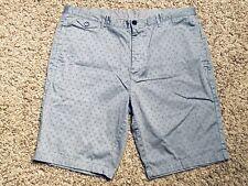 Calvin Klein Men's Size 36 Blue Flat Front Patterned Cotton Spandex Short