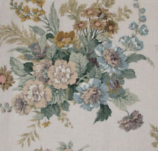 "Rare! 1.5 meters x SANDERSON ""Hartford"" Vintage LINEN Fabric 56"" wide Flowers"