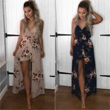 Womens Floral Mini Jumpsuit Party Beach Playsuit Shorts Romper Wrap Maxi Dress
