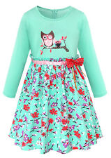 Girls Owl Printed Long Sleeve Floral Green Cotton Dresses For Kids 7-8 Years