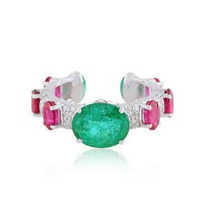 18k White Gold 4.85 TCW Emerald Gemstone Ring SI/Hi Diamond Handmade Jewelry NEW