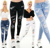 Damen Jeans Hose Röhrenjeans Skinny Risse Fetzen Destroyed Schriftzug XS-XL