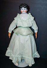 "Antique German China Head Doll 25"" Tall Dolly Madison Hairdo 1870"