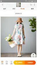 Women linen dress floral all sizes short sleeve with pockets