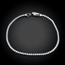 "18K White Gold Plated Tennis Bracelet AAA Round Brilliant 3mm  7.8"" ITALY"