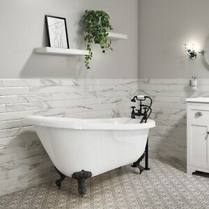 Park Royal Freestanding Bath Single Ended Roll Top White with Black Feet - 1700
