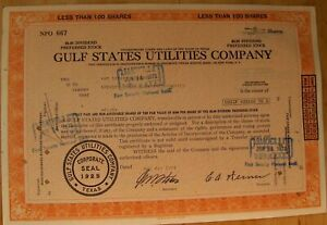 Gulf States Utilities Stock certificate. Payee Spencer Trask & Co, 1972