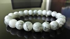 "White Marble Gemstone bead bracelet for Men (Stretch) 10mm - 8"" inch"