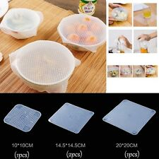 4PCS Silicone Reusable Food Wraps Seal Cover Stretch Cling Film Keep Food Fresh