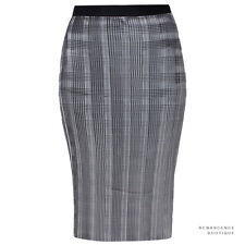 Alexander Wang Silvery Grey Plisse Pleated Body Contoured Pencil Skirt US4 UK8