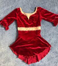 Ladies Small Ice Figure Skating Dress Sharene Designer Red Velvet Bling Crystals