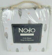 Nojo Crib Sheet White Pink Gray Feathers 100% Cotton