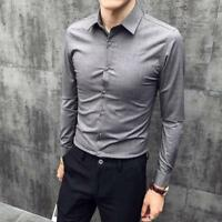 Men/'s Personalized Solid Color Tops Dress Shirt Slim Fit Long-sleeved Business