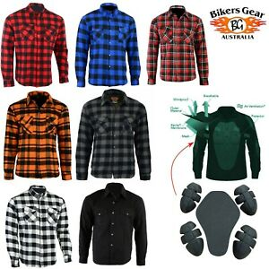 Australian Bikers Gear Mens Motorcycle Motorbike Flannel Shirt lined with Kevlar