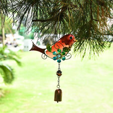 Vintage Stained Glass Hanging Bird Wind Chimes Outdoor Indoor Garden Decor AU