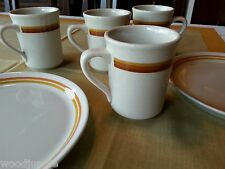 Vintage SHENANGO SYRACUSE CHINA PLATES COFFEE CUPS MUGS ORANGE Restaurant ware
