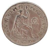 1866 Peru -  1/5 Sol 1866 YB - Silver - Very High Grade Coin. KM191   # 2
