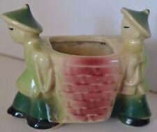 Vintage Asian Basket Shawnee Pottery Planter Vase Oriental Chinese Coolies